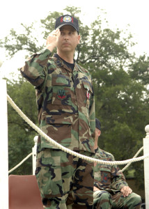 Saluting the 2d Civil Engineers as they pass in review, 2007.
