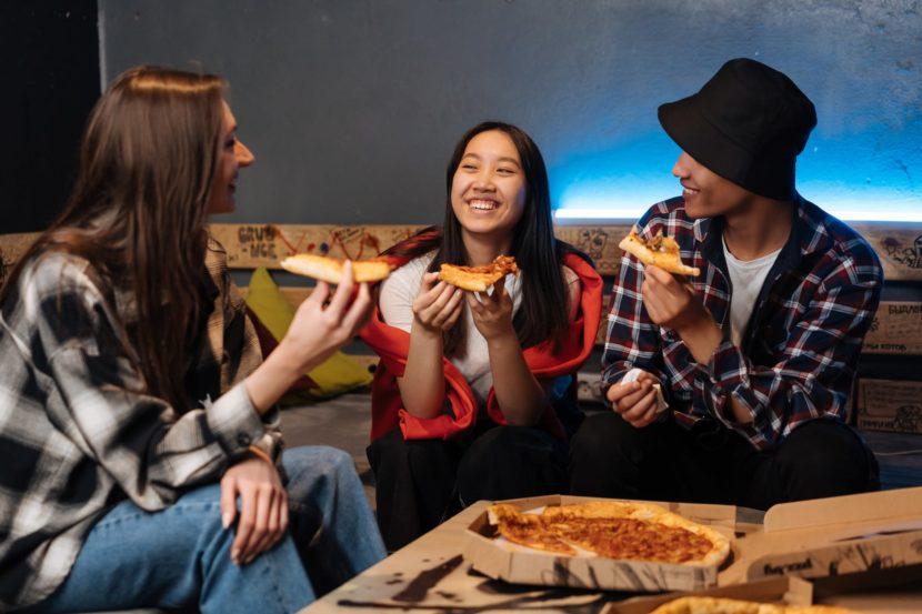 food pizza man people